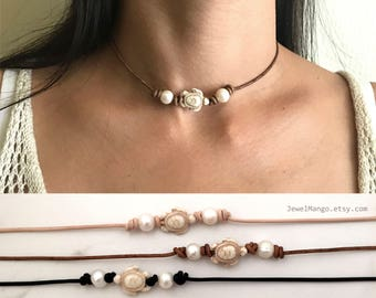 Turtle pearl leather choker, pearl necklace, leather, Leather Pearl Choker,white freshwater pearl leather necklace,brown leather, sea turtle