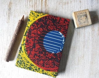 Small A6 African Print Journal Notebook Sketchbook Notepad Jotter 80 lined pages with hardback cover - African Wax Print Capulana Kitenge