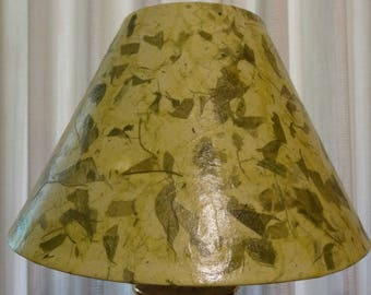 Botanical Lampshade - Medium Decoupage Shade using Handmade Light Green Color Mulberry Paper with Dark Green Leaf Pieces & Stems
