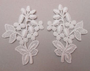 2 appliques lace 7 X 5 CMS for your creations