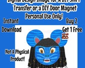 Girl Navi Mouse Head Printable Iron On Transfer Minnie Ears Mouse Head Pandora themed Shirt Transfer Matching Shirts DIY Disney Shirt