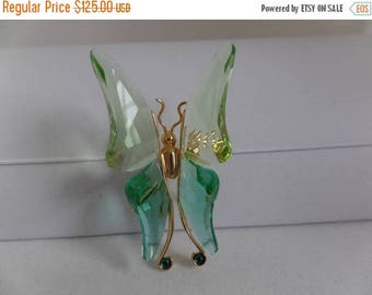 ON SALE SWAROVSKI Signed with Swan Green Crystal Butterfly Brooch