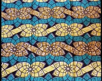 Blue/Green African wax fabric and yellow/Ankara/African Wax print
