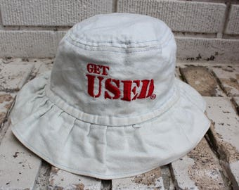Vintage GET USED Bucket Hat Size XL X-Large Made in U.S.A. Fitted Summer Vtg Streetwear
