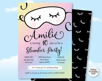 Slumber Party Invitation Pajama Party Sleepover Invitation