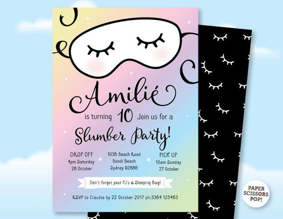 Pajama Party Sleepover Invitation Slumber Party Invitation – Pajama Party Invites