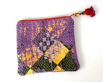 kantha pouch, kantha purse, jewellery purse, kantha, kantha quilt, coin purse, makeup purse