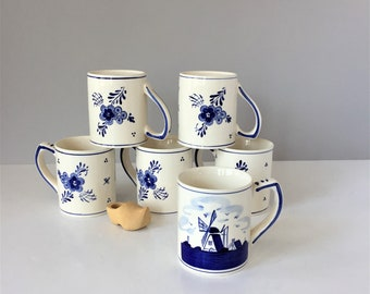 Set of Six Delft Mugs, Vintage Windmill Mugs, Handpainted Delft Blue, D.A.I.C. Ceramic Mugs, Dutch American Import Co Collectibles