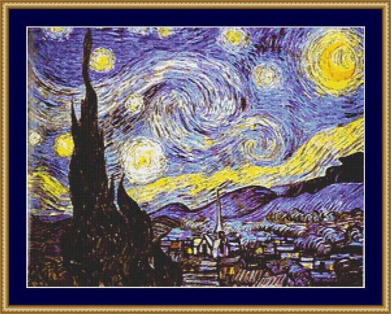 The Starry Night At Saint Remy Cross Stitch Pattern /Digital PDF Files /Instant downloadable