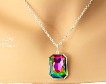 Vitrail Medium Necklace Swarovski Crystal Large Pendant Emerald Cut Stone Bridesmaid GIft Sparkly Statement Necklace Colorful Pendant VM41