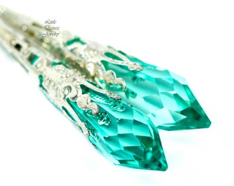 Teal Green Earrings Long Chandelier Earrings Swarovski Crystal Antique Green Sea Green Earrings Teal Green Filigree Sterling Silver AG36