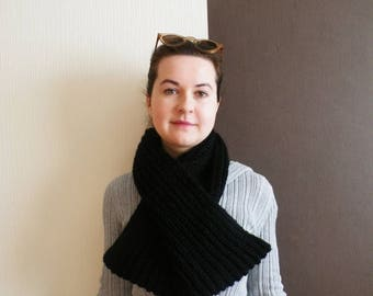Extra long black infinity scarf. Long black wool scarf. Knitted black circle scarf. Knitted black snood. Wool knit black scarf.