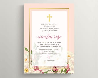 Girl Christening Invitation \ Girl Baptism Invitation \ Holy Communion Invite \ Printable Invitation \ Floral Invitation (CR65)