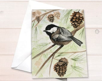 Chickadee Christmas cards, nature holiday card, chickadee watercolor, bird lover personal stationery set, gift for bird lover