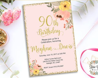 90th BIRTHDAY INVITATION - Birthday Party Invitation - Digital File - Fully Customized - 90 and fabulous - Shabby Chic Flowers