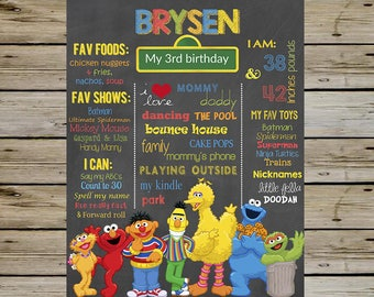 SESAME STREET 3rd Birthday Chalkboard, Elmo Cookie Monster Big Bird Ernie Bert Oscar the Grouch Abby Cadabby Zoe, Customized Bday Board