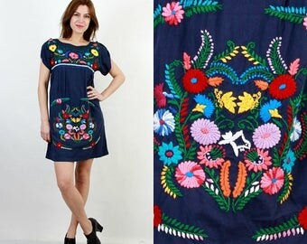 SALE Embroidered Dress / Floral Dress / Mini Dress / Summer Dress / Blue Floral Dress / Boho Dress / Bohemian Dress / Loose Dress / Cotton D