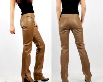 SALE Woman Faux Pants / Brown Faux Pants / Plein Sud / Khaki Pants / Faux Leather Pants / Extra Long Pants / Long Pants - Size 42 / 10