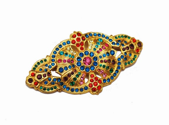 Colorful Rhinestone Bar Brooch -  trombone clasp -  Gold red green pink crystals - Art Deco pin