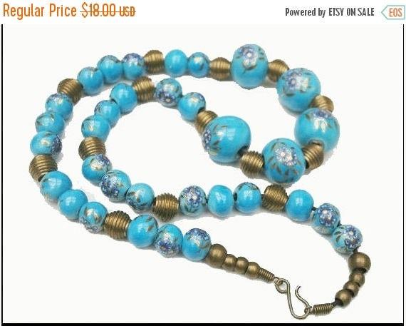 Brass and Blue Necklace Ceramic Blue Floral Bead Boho