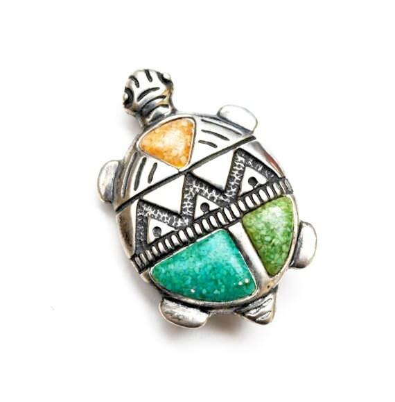 Sterling Turtle Brooch Pendant  -Gemstone  Figurine pin - green blue turquoise orange stone  chip   - signed Sterl - Southwestern