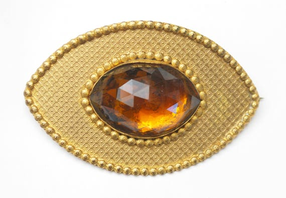 Victorian orange crystal gold brooch - Gilt Repousse metal  - large Oval rhinestone - c clasp  pin