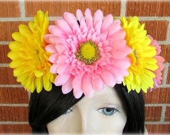 Yellow and Pink Flower Crown, Floral Crown, Flower Halo, Flower Headband, Floral Headband, Daisy Crown, Flower Wreath, Wedding, Festivals