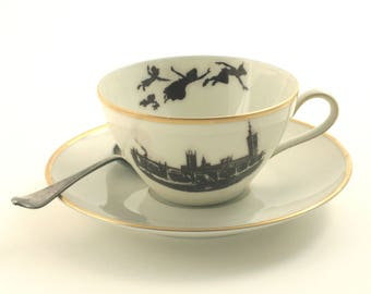 Peter Pan Quote, Altered Art, Vintage Porcelain Cup, Wendy, Barrie, Tea Coffee Cocoa Cup, Silhouette, Up Cycled Cup, Big Ben, London England