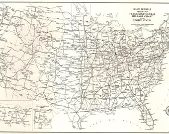 Vintage United States Map Etsy - Black and white usa map