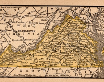 Virginia Map Etsy - Virginia map