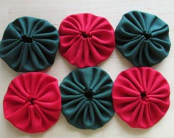 Yo yos 30 2 inch red and forest green solid Fabric YO YOS