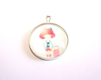 """1 PENDANT round CABOCHON 25 mm glass """"Little girl"""" on a plated silver"""