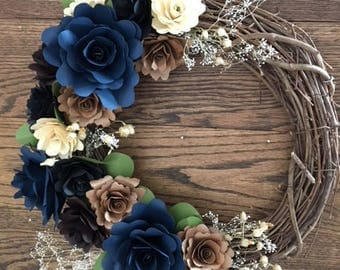 Deep River Paper Flower Wreath With Dried Accent Flowers