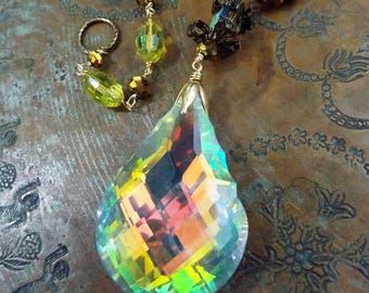 Sun Catcher Aurora Borealis with Vintage Inspired Yellow AB and Gold Beads and Brass Handmade Chain