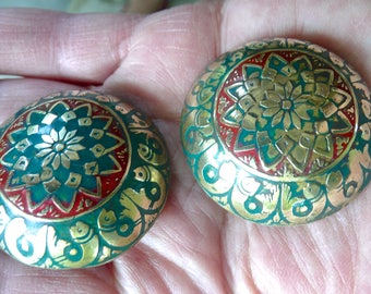 Vintage Earrings - Oversized Clip Ons - Large Earrings - Siamese Jewelry - Fish Pattern - Enamelled Clips- Domed - Green and Red Over Brass