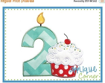 50% Off Birthday Number 1 thru 9 with Cupcake applique design in digital format for embroidery machine by Applique Corner