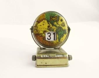 Perpetual Calendar -  Enameled Renaissance World Globe - Brass-look Flip Calendar - Forever Calendar - Changing Calendar - Made in Japan