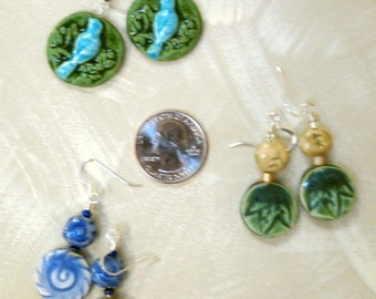 handmade ceramic round drop earrings - your choice