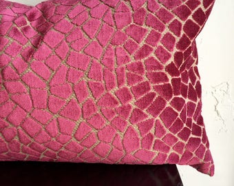 Fuchsia Animal Print Pillow Cover, Pink Velvet Pillow Cover, 16x26 Decorative Pillow Cover, Velvet Lumbar Throw Pillow, Giraffe Pillow