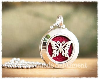 Aromatherapy Jewelry • Oil Diffuser Necklace • Best Friend Gift • Butterfly Necklace • Essential Oil Locket
