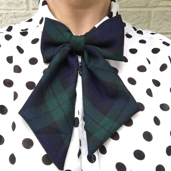 Black Watch Green/Blue Tartan Betty Bow Tie Pin Rockabilly Rockabella