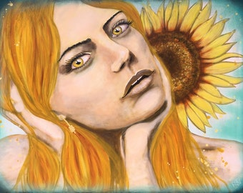 Bright Golden Sunflower Original Painting by artist Rafi Perez Mixed Medium and Gold Leaf on Canvas 24X30