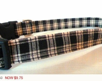 "Sale - 50% Off - Plaid Dog Collar - Black, White & Grey Plaid ""Nathan""- Free Colored Buckles"