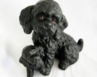 Black Poodle and Puppy Figurine   Vintage
