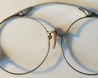 White Gold Filled Filigree Lorgnette Spectacles Edwardian Art Deco Steampunk Glasses Ca 1910s-20s AS IS Needs TLC