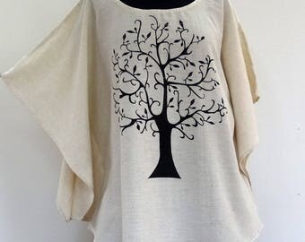 Free size tunic printed unbleached cotton tree