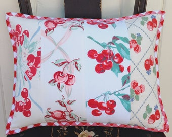 """vintage cherry tablecloth patchwork pillow cover 12x16"""""""
