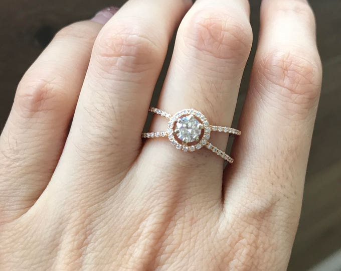 Moissanite Engagement Ring- Rose Gold Moissanite Ring- Round Halo Promise Ring- Alternative Diamond Engagement Ring- Split Band Ring