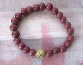 Happy Buddha Yoga, Relaxation Beaded Stretch Bracelet with Red Wood Beads