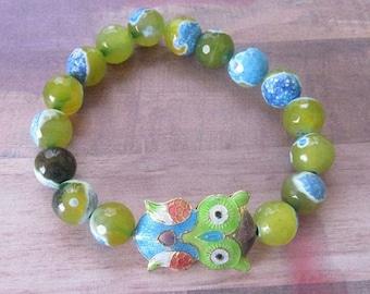 ON SALE Cloisonné Owl Beaded Bracelet with Marbleized Glass Beads